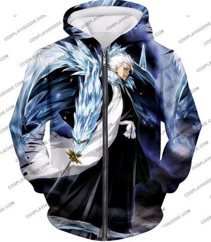 Image of Bleach Super Cool Shinigami Toshiro Hitsugaya Ultimate Action T-Shirt Bh007 Zip Up Hoodie / Us Xxs