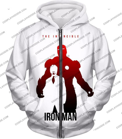 Image of Invincible Iron Man Promo Pure White T-Shirt Im007 Zip Up Hoodie / Us Xxs (Asian Xs)