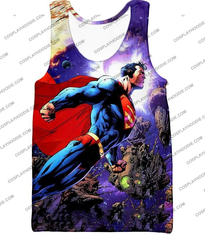 Incredible Flying Superhero Superman The Animated Series Cool Promo T-Shirt Su007 Tank Top / Us Xxs