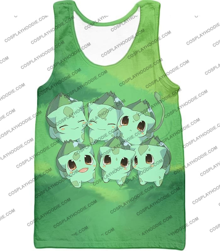 Pokemon Cute Baby Bulbasaur Cool Graphic T-Shirt Pkm157 Tank Top / Us Xxs (Asian Xs)