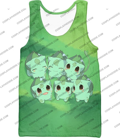 Image of Pokemon Cute Baby Bulbasaur Cool Graphic T-Shirt Pkm157 Tank Top / Us Xxs (Asian Xs)
