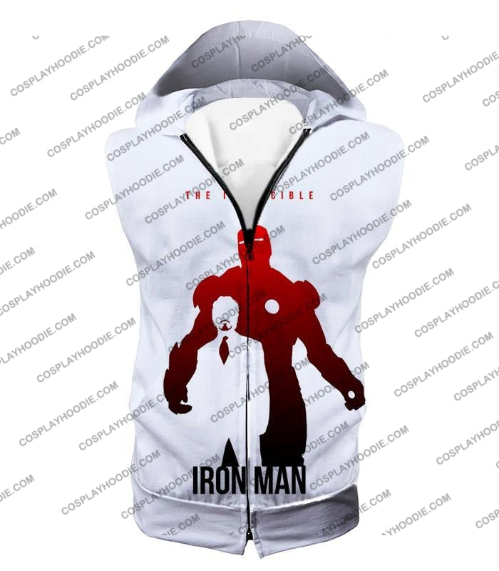 Invincible Iron Man Promo Pure White T-Shirt Im007 Hooded Tank Top / Us Xxs (Asian Xs)