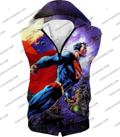 Image of Incredible Flying Superhero Superman The Animated Series Cool Promo T-Shirt Su007 Hooded Tank Top /