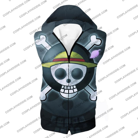 Image of One Piece Super Cool Straw Hat Pirate Logo Promo T-Shirt Op007 Hooded Tank Top / Us Xxs (Asian Xs)