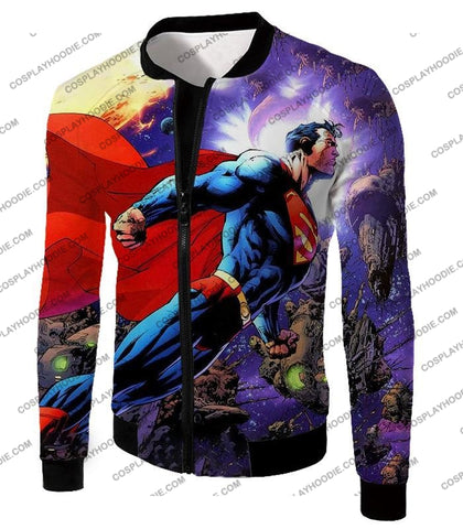 Image of Incredible Flying Superhero Superman The Animated Series Cool Promo T-Shirt Su007 Jacket / Us Xxs