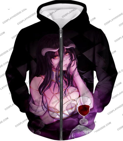 Image of Overlord Albedo The Guardian Overseer And Supervisor Awesome Anime Promo T-Shirt Ol070 Zip Up Hoodie