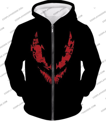 Image of Blood Red Spiderman Villain Carnage Promo Black T-Shirt Sp071 Zip Up Hoodie / Us Xxs (Asian Xs)