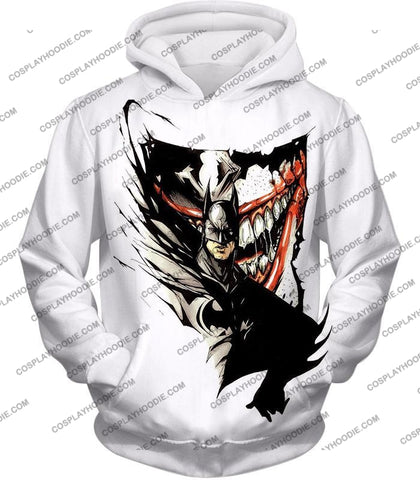 Image of Amazing Fan Art Batman X The Joker Cool White T-Shirt Bm074 Hoodie / Us Xxs (Asian Xs)