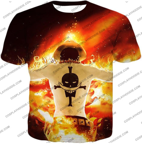Image of One Piece Whitebeard Pirates 2Nd Division Commander Portgas D Ace Cool Action T-Shirt Op074 / Us Xxs
