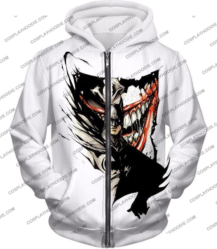 Amazing Fan Art Batman X The Joker Cool White T-Shirt Bm074 Zip Up Hoodie / Us Xxs (Asian Xs)