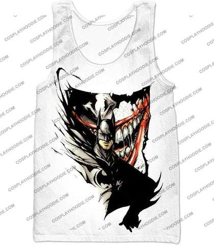 Image of Amazing Fan Art Batman X The Joker Cool White T-Shirt Bm074 Tank Top / Us Xxs (Asian Xs)