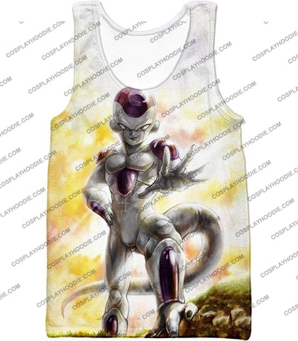 Image of Dragon Ball Super Full Form Frieza Dangerous Villain Awesome Promo White T-Shirt Dbs074 Tank Top /