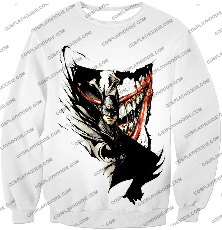 Amazing Fan Art Batman X The Joker Cool White T-Shirt Bm074 Sweatshirt / Us Xxs (Asian Xs)