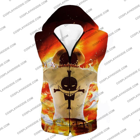 Image of One Piece Whitebeard Pirates 2Nd Division Commander Portgas D Ace Cool Action T-Shirt Op074 Hooded