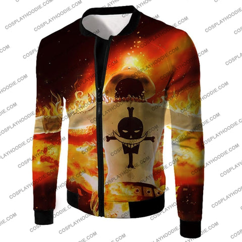 Image of One Piece Whitebeard Pirates 2Nd Division Commander Portgas D Ace Cool Action T-Shirt Op074 Jacket /