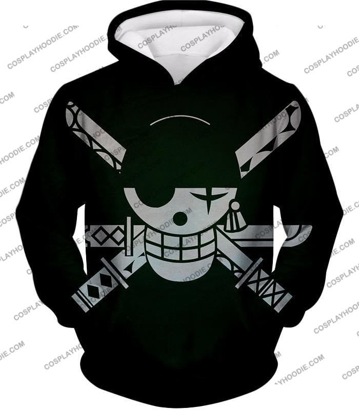 One Piece Super Cool Swordsman Roronoa Zoro Logo Black T-Shirt Op075 Hoodie / Us Xxs (Asian Xs)