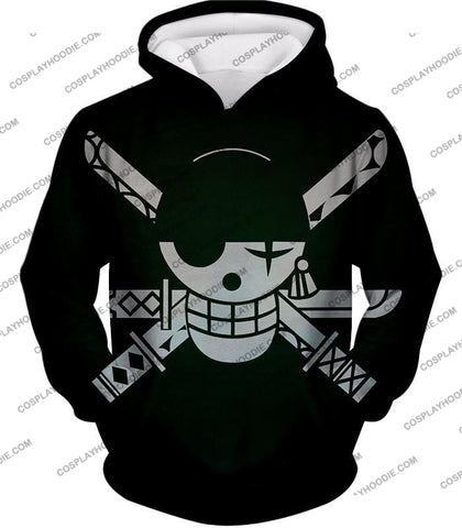 Image of One Piece Super Cool Swordsman Roronoa Zoro Logo Black T-Shirt Op075 Hoodie / Us Xxs (Asian Xs)