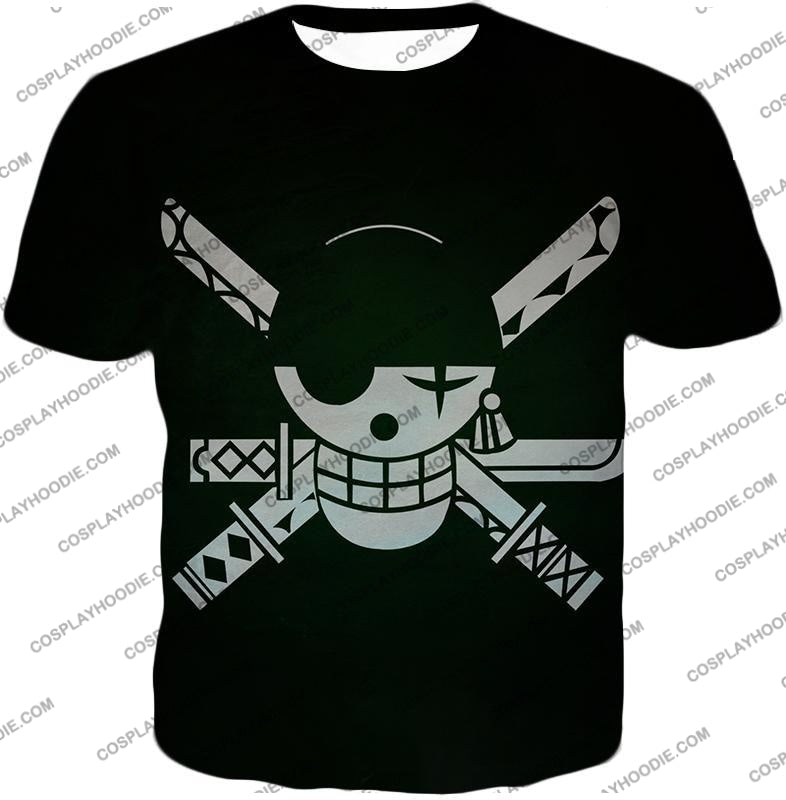 One Piece Super Cool Swordsman Roronoa Zoro Logo Black T-Shirt Op075 / Us Xxs (Asian Xs)