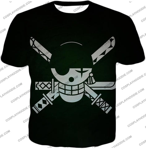 Image of One Piece Super Cool Swordsman Roronoa Zoro Logo Black T-Shirt Op075 / Us Xxs (Asian Xs)