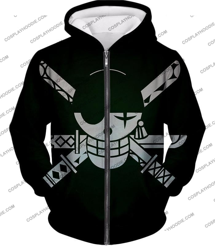 One Piece Super Cool Swordsman Roronoa Zoro Logo Black T-Shirt Op075 Zip Up Hoodie / Us Xxs (Asian