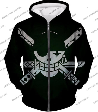 Image of One Piece Super Cool Swordsman Roronoa Zoro Logo Black T-Shirt Op075 Zip Up Hoodie / Us Xxs (Asian