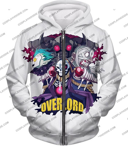 Image of Overlord Awesome Anime Ultimate Promo White T-Shirt Ol075 Zip Up Hoodie / Us Xxs (Asian Xs)