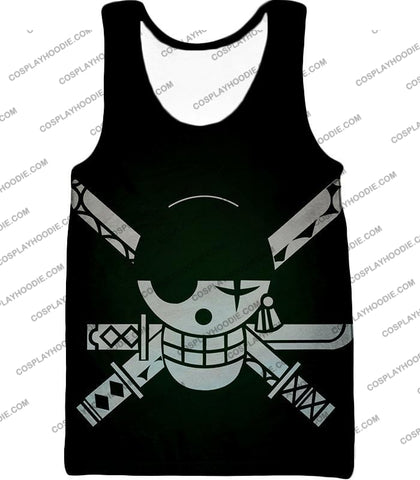 Image of One Piece Super Cool Swordsman Roronoa Zoro Logo Black T-Shirt Op075 Tank Top / Us Xxs (Asian Xs)