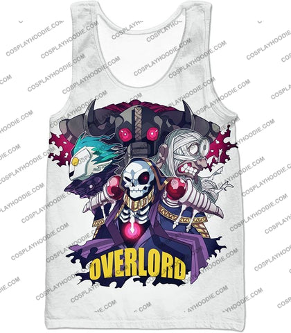 Image of Overlord Awesome Anime Ultimate Promo White T-Shirt Ol075 Tank Top / Us Xxs (Asian Xs)