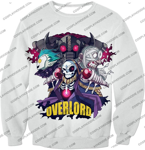 Image of Overlord Awesome Anime Ultimate Promo White T-Shirt Ol075 Sweatshirt / Us Xxs (Asian Xs)