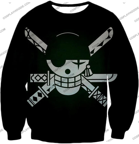 Image of One Piece Super Cool Swordsman Roronoa Zoro Logo Black T-Shirt Op075 Sweatshirt / Us Xxs (Asian Xs)