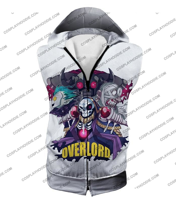 Overlord Awesome Anime Ultimate Promo White T-Shirt Ol075 Hooded Tank Top / Us Xxs (Asian Xs)