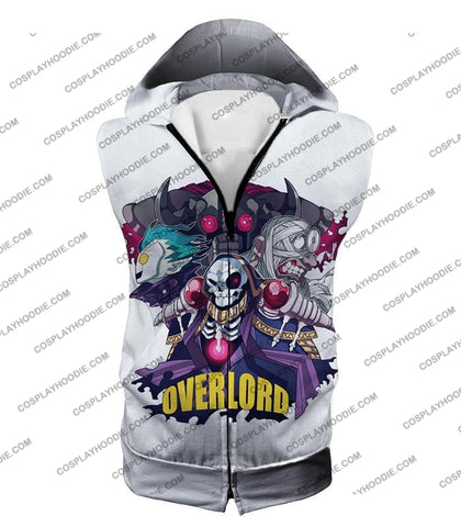 Image of Overlord Awesome Anime Ultimate Promo White T-Shirt Ol075 Hooded Tank Top / Us Xxs (Asian Xs)