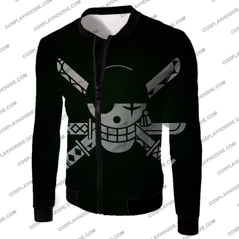 One Piece Super Cool Swordsman Roronoa Zoro Logo Black T-Shirt Op075 Jacket / Us Xxs (Asian Xs)