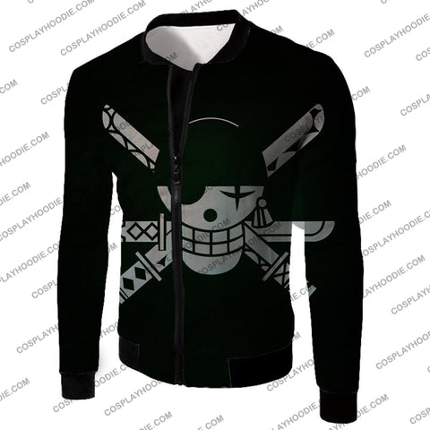 Image of One Piece Super Cool Swordsman Roronoa Zoro Logo Black T-Shirt Op075 Jacket / Us Xxs (Asian Xs)