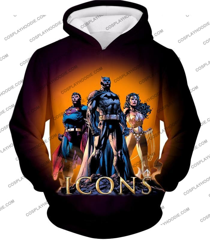 Cool Justice League Iconic Superheroes Awesome Graphic Promo T-Shirt Bm077 Hoodie / Us Xxs (Asian