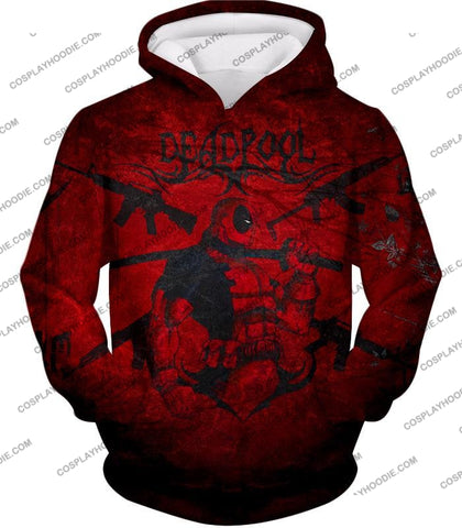 Image of Super Regenerating Marvel Hero Deadpool Promo Red T-Shirt Dp077 Hoodie / Us Xxs (Asian Xs)