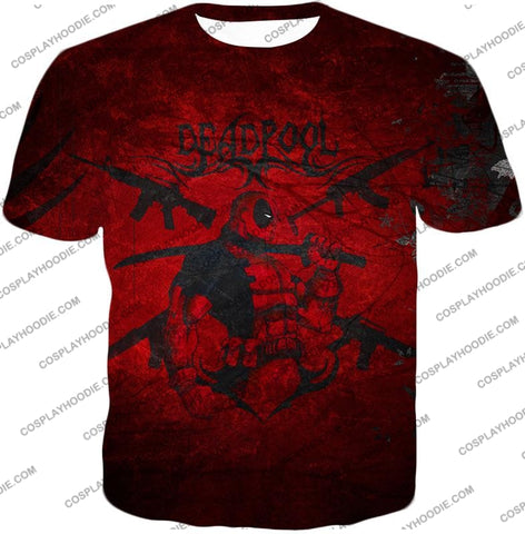 Image of Super Regenerating Marvel Hero Deadpool Promo Red T-Shirt Dp077 / Us Xxs (Asian Xs)