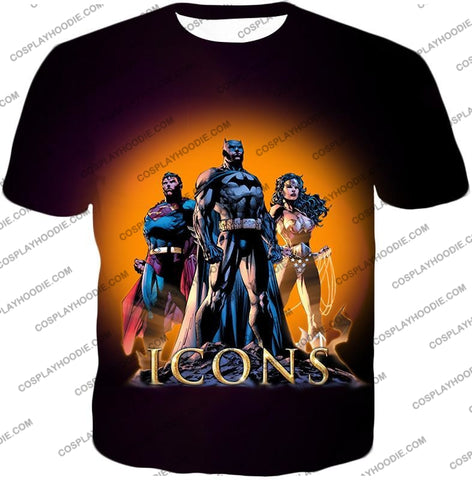 Image of Cool Justice League Iconic Superheroes Awesome Graphic Promo T-Shirt Bm077 / Us Xxs (Asian Xs)