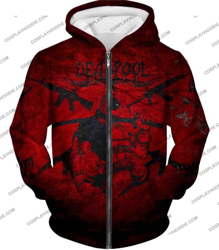 Super Regenerating Marvel Hero Deadpool Promo Red T-Shirt Dp077 Zip Up Hoodie / Us Xxs (Asian Xs)