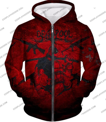 Image of Super Regenerating Marvel Hero Deadpool Promo Red T-Shirt Dp077 Zip Up Hoodie / Us Xxs (Asian Xs)
