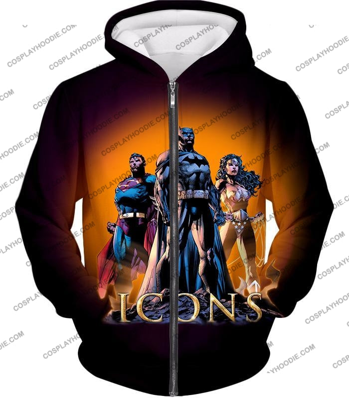 Cool Justice League Iconic Superheroes Awesome Graphic Promo T-Shirt Bm077 Zip Up Hoodie / Us Xxs