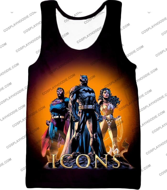 Cool Justice League Iconic Superheroes Awesome Graphic Promo T-Shirt Bm077 Tank Top / Us Xxs (Asian