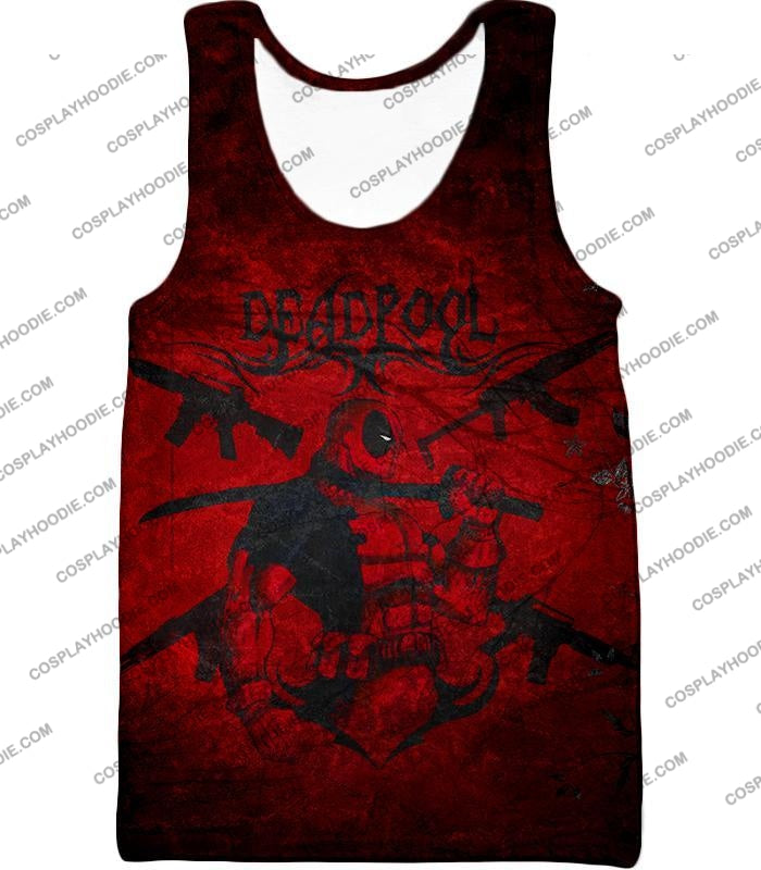 Super Regenerating Marvel Hero Deadpool Promo Red T-Shirt Dp077 Tank Top / Us Xxs (Asian Xs)