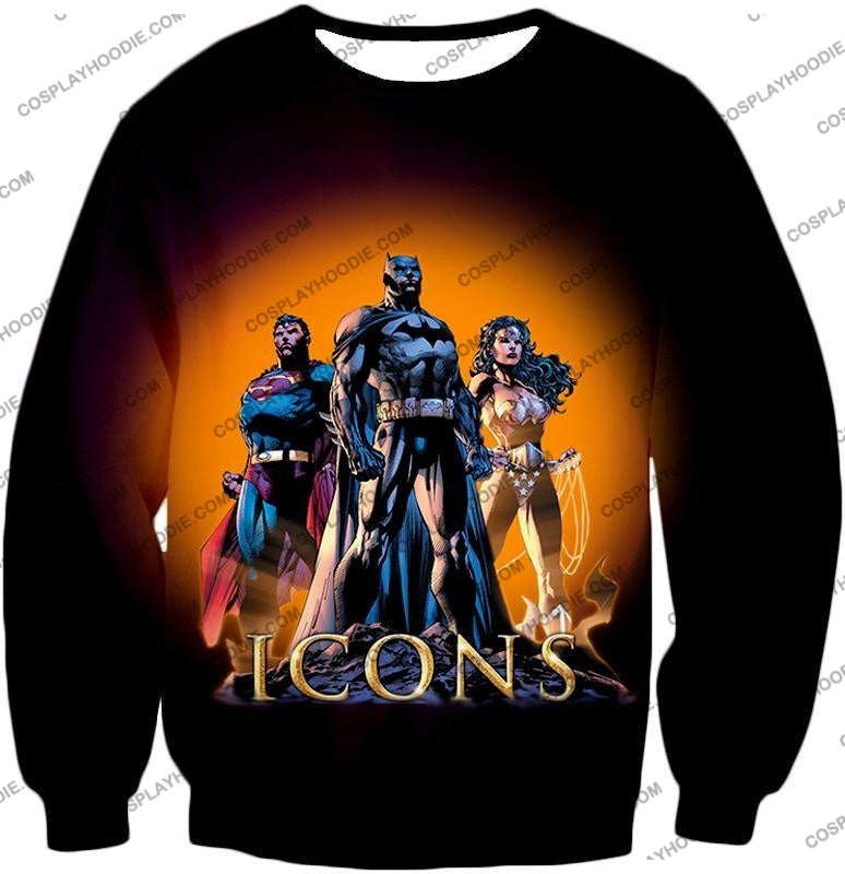 Cool Justice League Iconic Superheroes Awesome Graphic Promo T-Shirt Bm077 Sweatshirt / Us Xxs