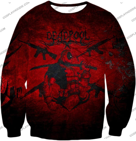 Image of Super Regenerating Marvel Hero Deadpool Promo Red T-Shirt Dp077 Sweatshirt / Us Xxs (Asian Xs)