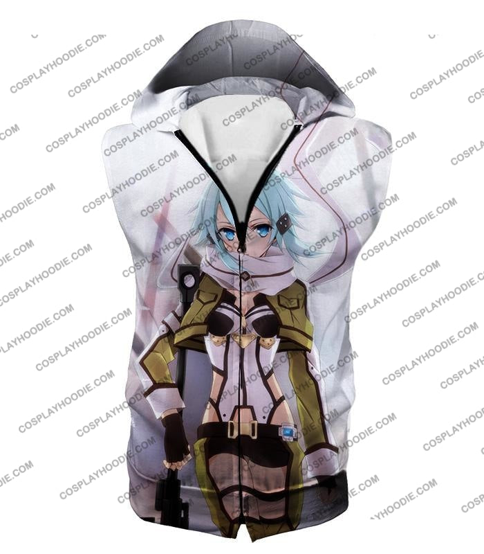 Sword Art Online Ultimate Sniper Gun Gale Player Asada Shino Cool White T-Shirt Sao077 Hooded Tank