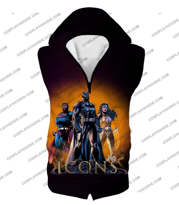 Cool Justice League Iconic Superheroes Awesome Graphic Promo T-Shirt Bm077 Hooded Tank Top / Us Xxs