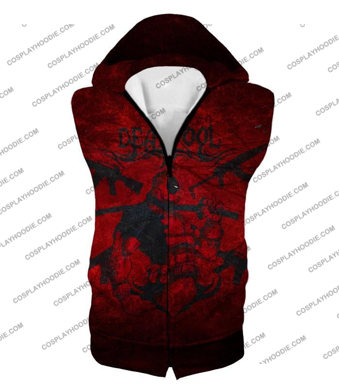 Super Regenerating Marvel Hero Deadpool Promo Red T-Shirt Dp077 Hooded Tank Top / Us Xxs (Asian Xs)