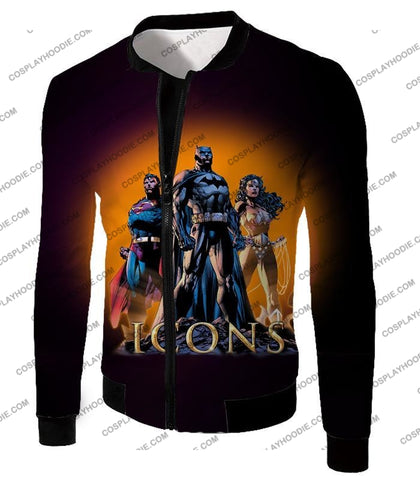Image of Cool Justice League Iconic Superheroes Awesome Graphic Promo T-Shirt Bm077 Jacket / Us Xxs (Asian