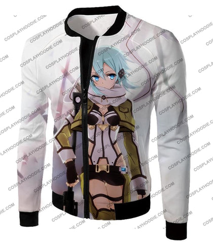 Image of Sword Art Online Ultimate Sniper Gun Gale Player Asada Shino Cool White T-Shirt Sao077 Jacket / Us